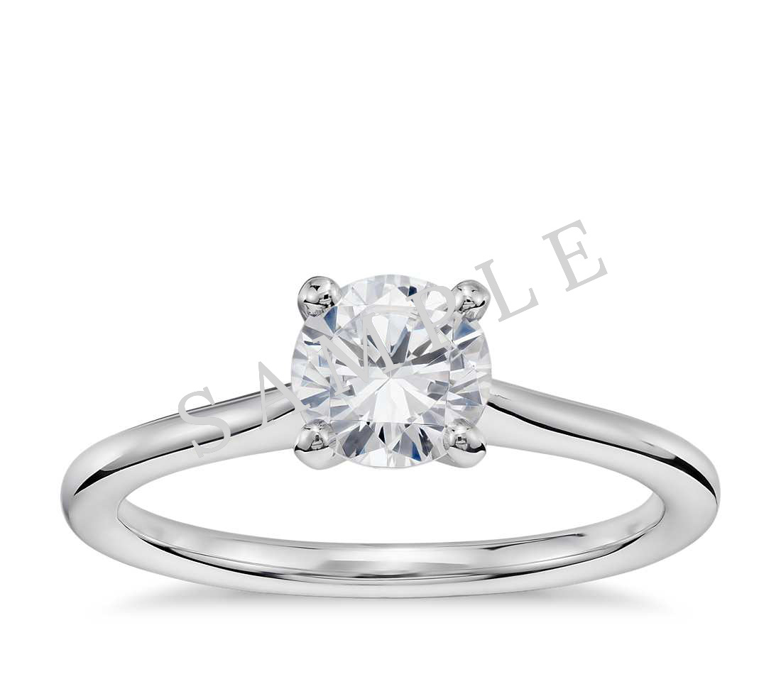 Channel Set Cathedral Diamond Engagement Ring - Emerald - 14K White Gold