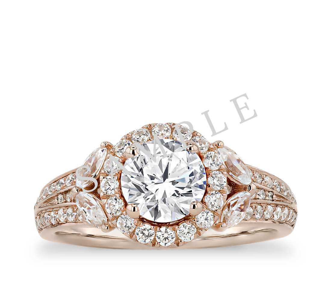 Petite Double Halo Pave Diamond Engagement Ring - Round - 18K Rose Gold