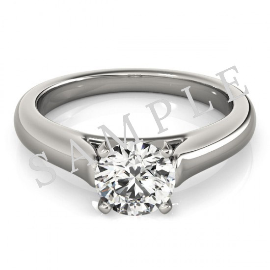 18K White 5x5mm Asscher Solitaire Engagement Ring Mounting with 0.20 Carat Round Diamond