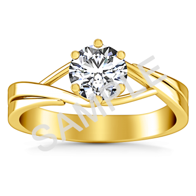 Channel Set Cathedral Diamond Engagement Ring - Round - 14K Yellow Gold