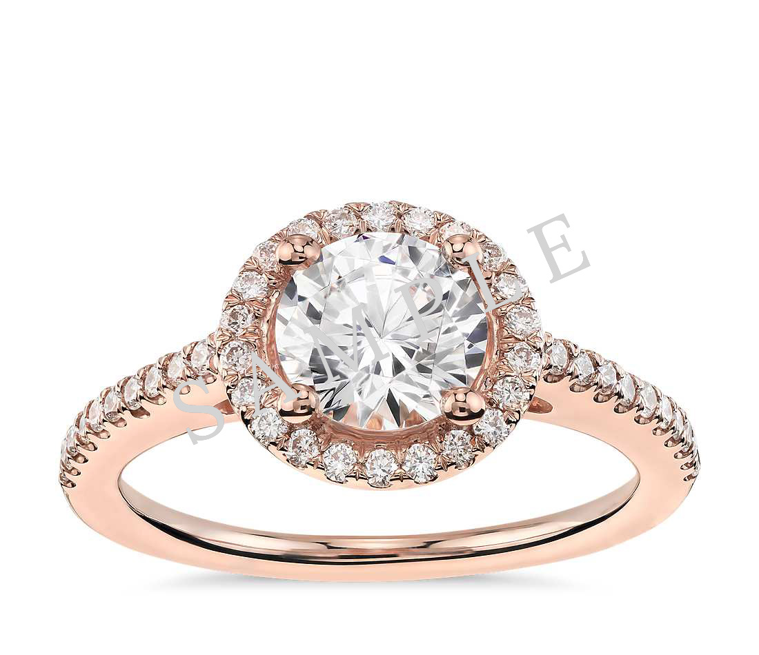 Petite Double Halo Pave Diamond Engagement Ring - Heart - 14K Rose Gold
