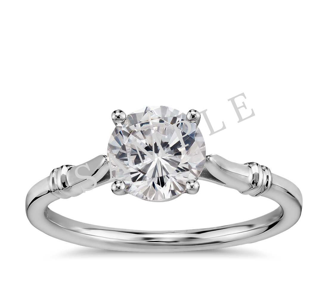 Tapered Diamond Engagement Ring - Round - Platinum