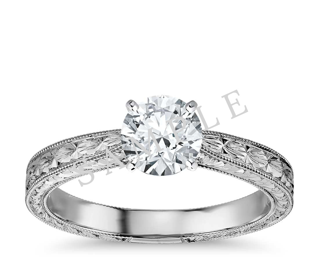Tapered Diamond Engagement Ring - Round - 18K White Gold