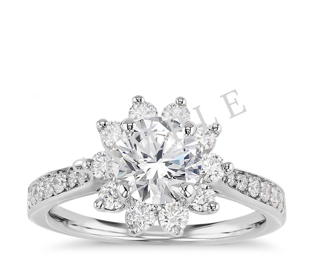 Channel Set Cathedral Diamond Engagement Ring - Cushion - Platinum