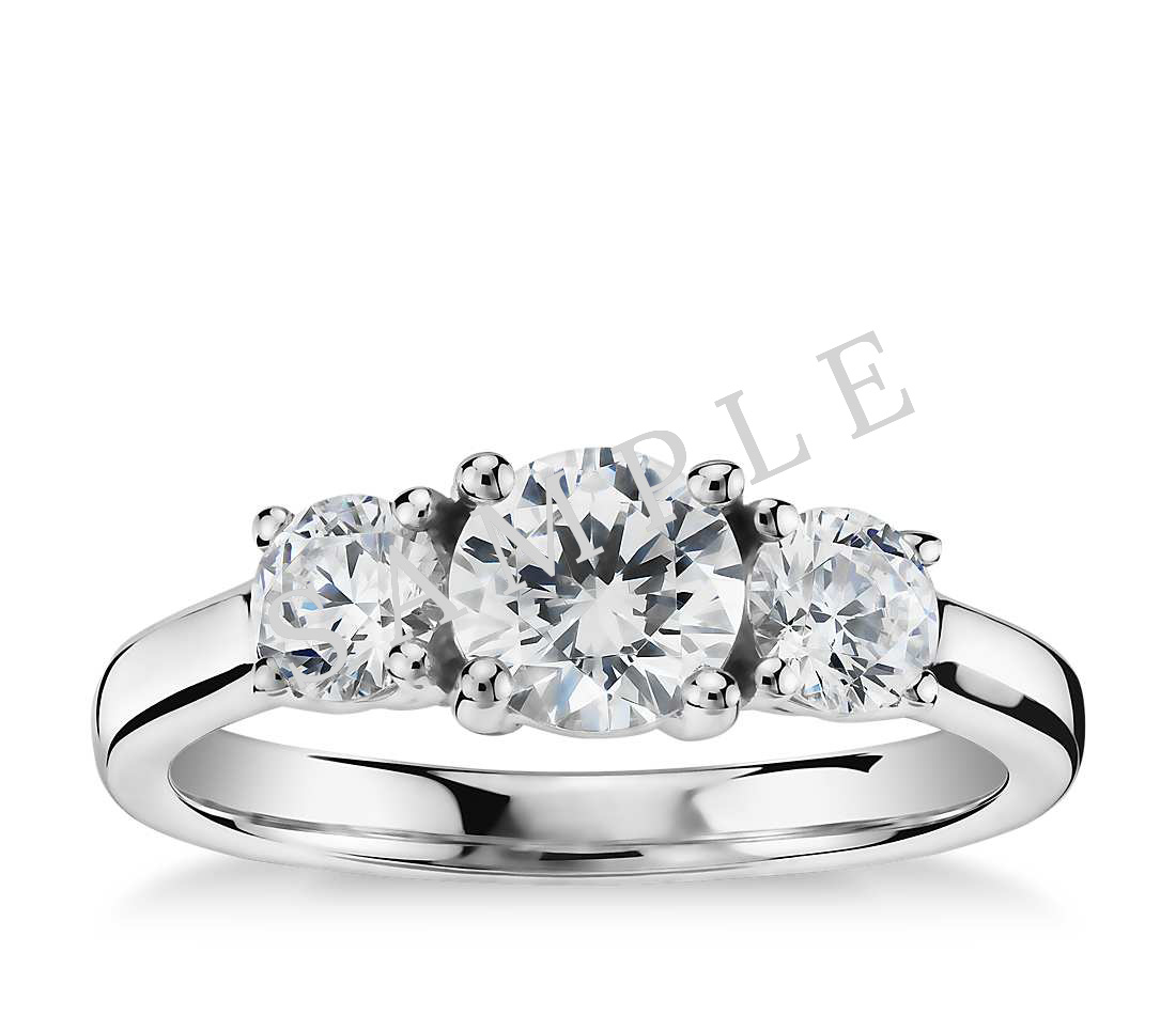 Petite Double Halo Pave Diamond Engagement Ring - Round - 14K White Gold
