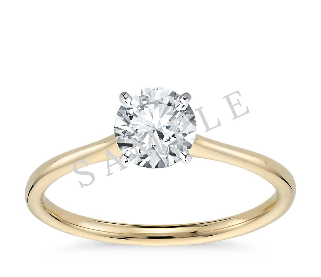 Channel Set Cathedral Diamond Engagement Ring - Asscher - 14K Yellow Gold