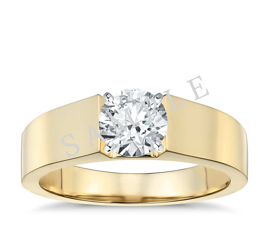 Channel Set Cathedral Diamond Engagement Ring - Cushion - 14K Yellow Gold
