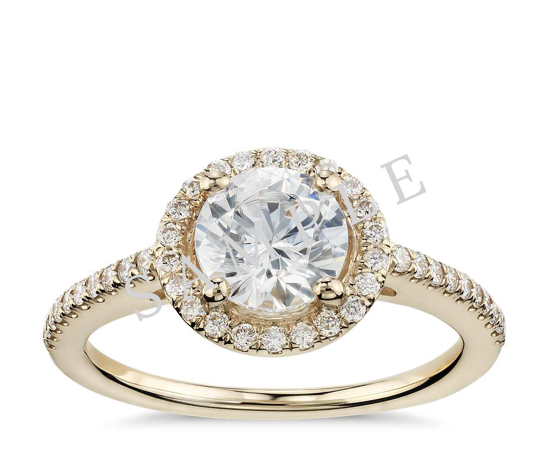 Petite Double Halo Pave Diamond Engagement Ring - Round - 14K Yellow Gold