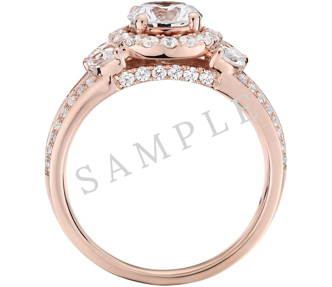 Petite Double Halo Pave Diamond Engagement Ring - Round - 18K Rose Gold 1
