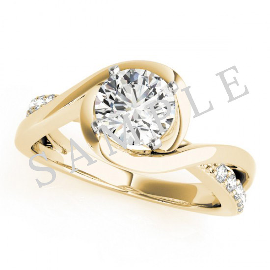 14K Yellow 7x5 mm Oval Solitaire Engagement Ring Mounting with 0.20 Carat Round Diamond  1