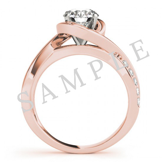 18K Rose 10x10 mm Asscher Engagement Ring Mounting 1