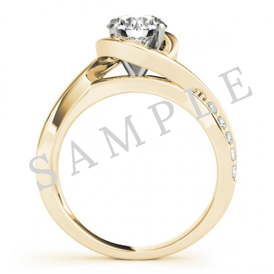 18K Yellow 6.5 mm Round Solitaire Engagement Ring Mounting with 0.20 Carat Princess Diamond  2