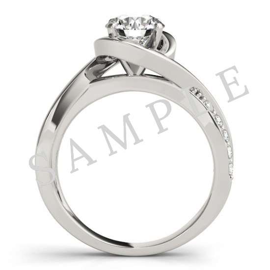14K White 5.8 mm Round Solitaire Engagement Ring Mounting with 0.74 Carat Round Diamond  2