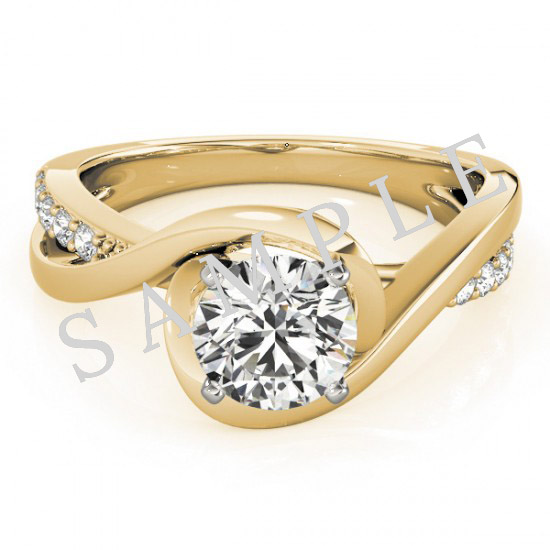 14K Yellow 7x5 mm Oval Solitaire Engagement Ring Mounting with 0.20 Carat Round Diamond  0