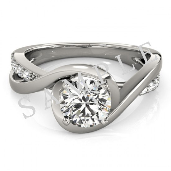 14K White 5.8 mm Round Solitaire Engagement Ring Mounting with 0.74 Carat Round Diamond  0