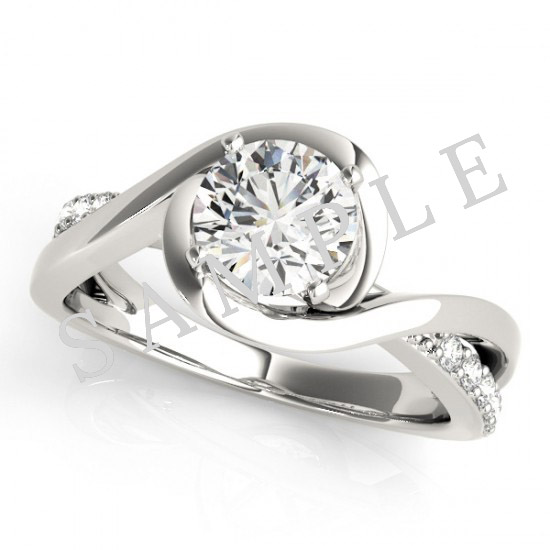14K White 5.8 mm Round Solitaire Engagement Ring Mounting with 0.74 Carat Round Diamond  1
