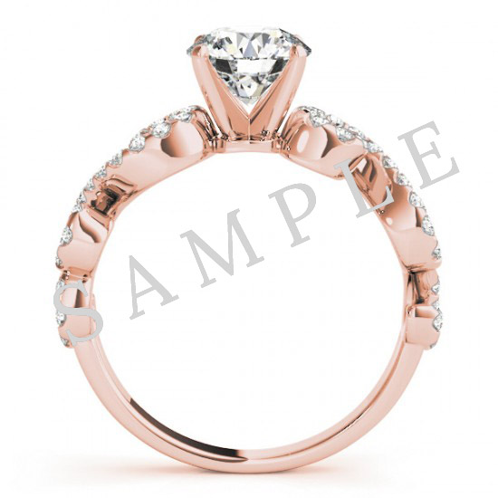 14K Rose 8x4mm Marquise Solitaire Engagement Ring Mounting 1