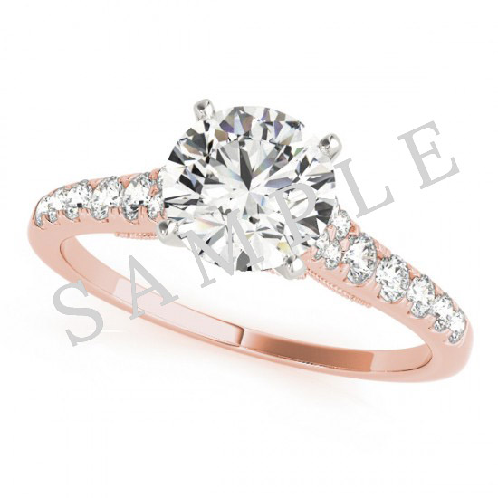 14K Rose 10 x 10 mm Asscher Eternity Engagement Ring Mounting with 0.20 Carat Round Diamond  1