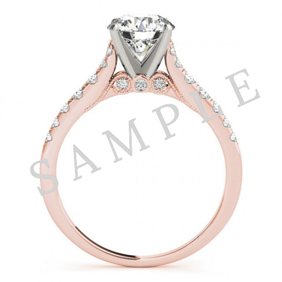 14K Rose 10 x 10 mm Asscher Eternity Engagement Ring Mounting with 0.20 Carat Round Diamond  2