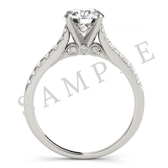 Platinum 4 mm Square Engagement Ring Mounting 2