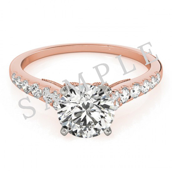 18K Rose 6x3mm Marquise Engagement Ring Mounting 0