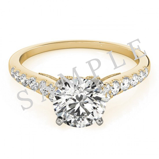 18K Yellow 6x3mm Marquise Engagement Ring Mounting 2