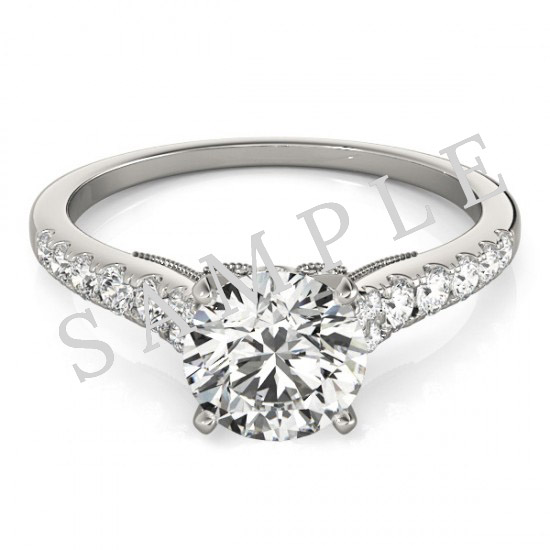 18K White 6x3mm Marquise Engagement Ring Mounting 2