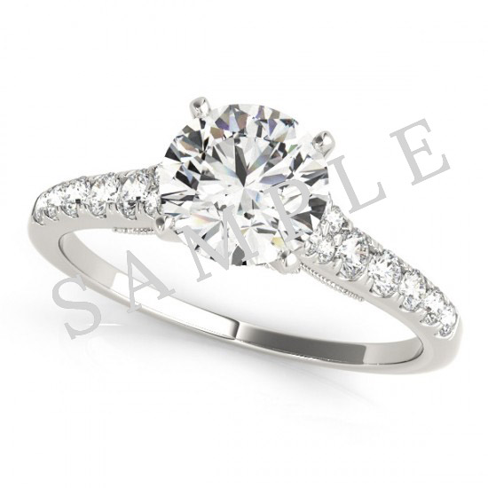 18K White 6x3mm Marquise Engagement Ring Mounting 0