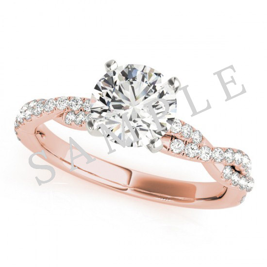 14K Rose 5x5 mm Square Solitaire Engagement Ring Mounting with 0.21 Carat Princess Diamond  1