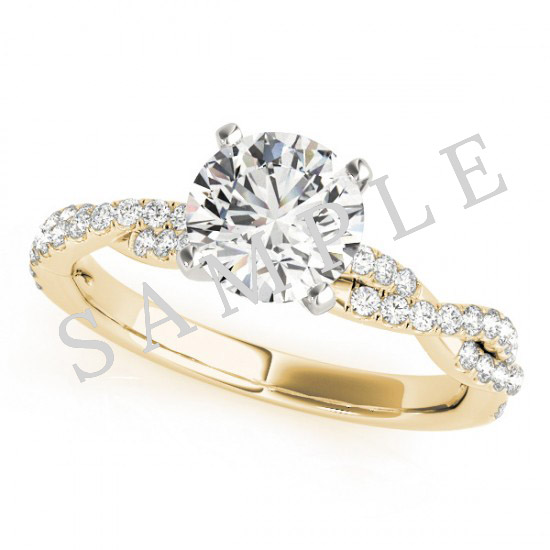 18K Yellow 5x5 mm Square Solitaire Engagement Ring Mounting with 0.20 Carat Round Diamond  1