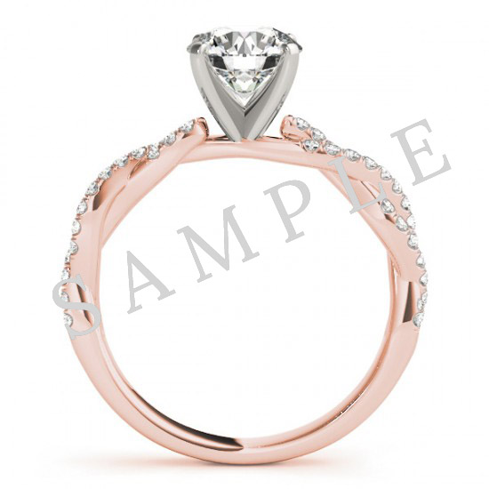 14K Rose 5x5 mm Square Solitaire Engagement Ring Mounting with 0.20 Carat Round Diamond  with 0.22 Carat Asscher Diamond  2