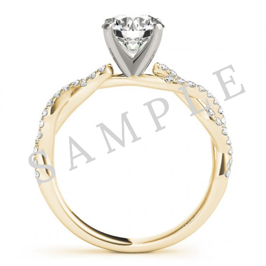18K Yellow 5x5 mm Square Solitaire Engagement Ring Mounting with 0.20 Carat Round Diamond  2