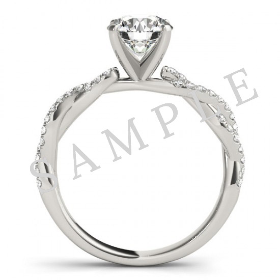 14K White 5x5 mm Heart Engagement Ring Mounting with 0.22 Carat Asscher Diamond  2