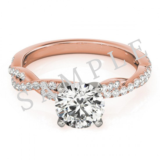 14K Rose 5x5 mm Square Solitaire Engagement Ring Mounting with 0.21 Carat Princess Diamond  0