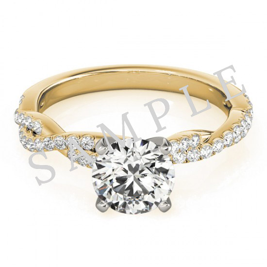 18K Yellow 5x5 mm Square Solitaire Engagement Ring Mounting with 0.20 Carat Round Diamond  0