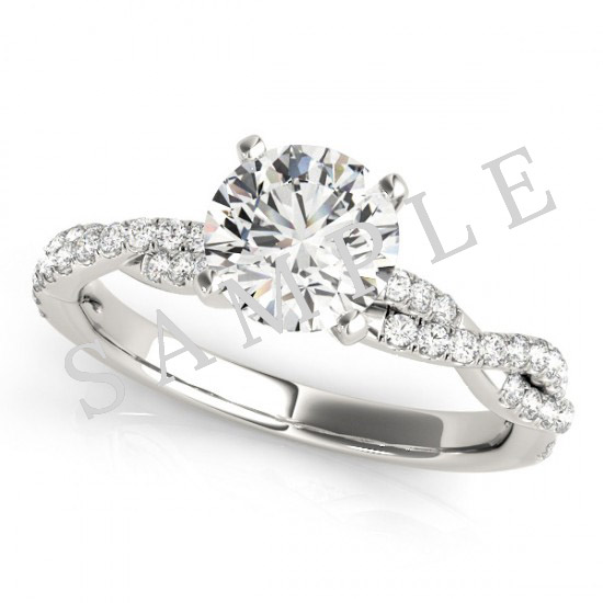 14K White 5x5 mm Square Solitaire Engagement Ring Mounting with 0.22 Carat Asscher Diamond  1