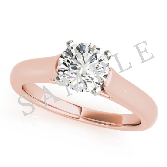 18K Rose 5x5mm Asscher Solitaire Engagement Ring Mounting with 0.25 Carat Round Diamond  2