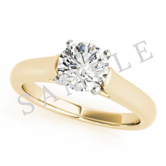 18K Yellow 7x5mm Pear Solitaire Engagement Ring Mounting 2