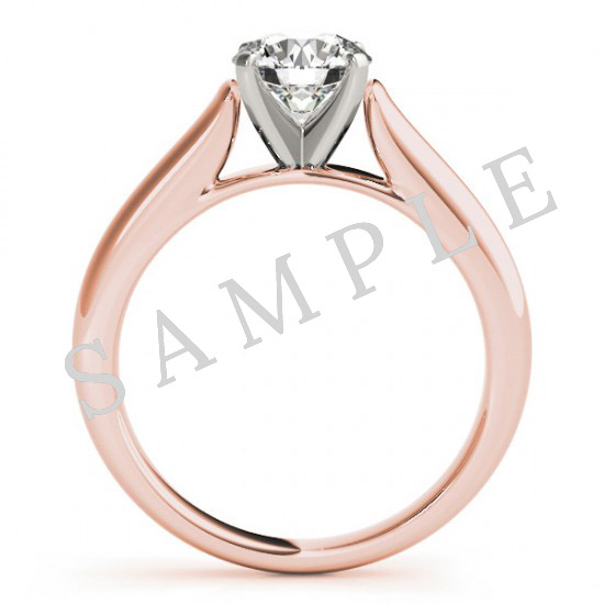18K Rose 5x5mm Asscher Solitaire Engagement Ring Mounting with 0.25 Carat Round Diamond  1