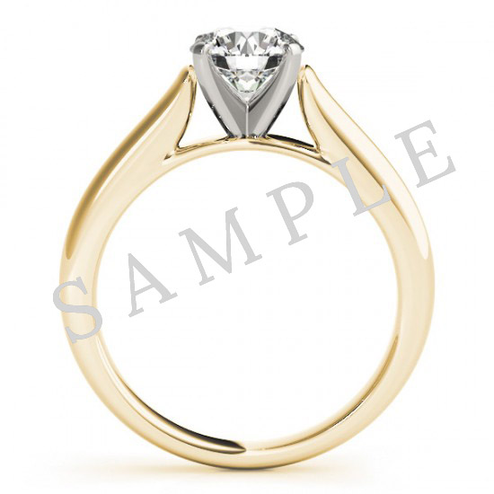 18K Yellow 7x5mm Pear Solitaire Engagement Ring Mounting 1