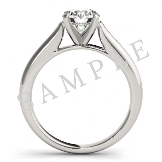 14K White 10 x 7 mm Pear Eternity Engagement Ring Mounting with 0.25 Carat Round Diamond  2