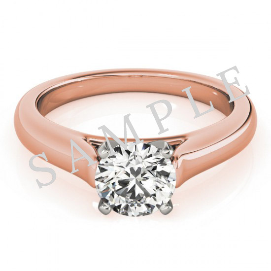 18K Rose 5x5mm Asscher Solitaire Engagement Ring Mounting with 0.25 Carat Round Diamond  0