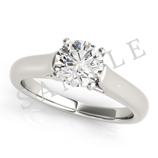 14K White 10 x 7 mm Pear Eternity Engagement Ring Mounting with 0.25 Carat Round Diamond  1
