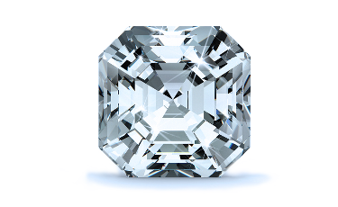 14K White 5x5mm Asscher Solitaire Engagement Ring Mounting with 0.22 Carat Asscher Diamond  with 0.24 Carat Round Diamond  with 0.25 Carat Round Diamond  with 0.22 Carat Asscher Diamond  with 0.25 Carat Round Diamond  3
