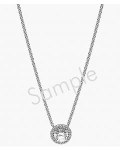 "14K White 1/2 CTW Diamond Circle 16"" Necklace"