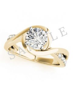 18K Yellow 5.2mm Round Engagement Ring Mounting