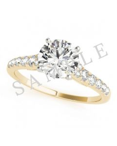 18K Yellow 6x3mm Marquise Engagement Ring Mounting