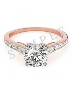 18K Rose 6x3mm Marquise Engagement Ring Mounting
