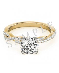 14K Yellow 5x5 mm Square Solitaire Engagement Ring Mounting with 0.21 Carat Princess Diamond