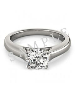 18K White 8x6mm Pear Engagement Ring Mounting